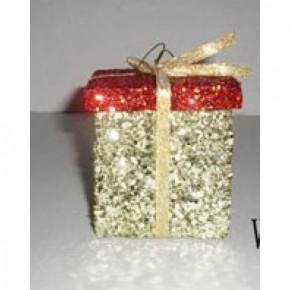 """2.5"""" Glitter Gift Box Ornament"""