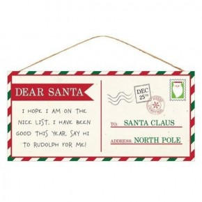 Dear Santa Postcard Sign