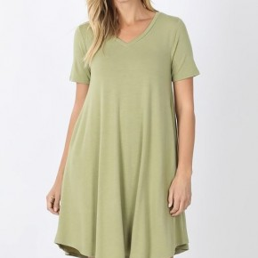 V- Neck Pocket Dress