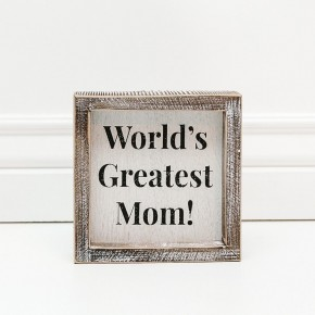 WOOD BOX SIGN - WORLD'S GREATEST MOM