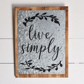 Tin Sign- Live Simply