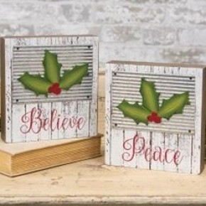 Holly Jolly Box Sign, 'Peace' 'Believe'