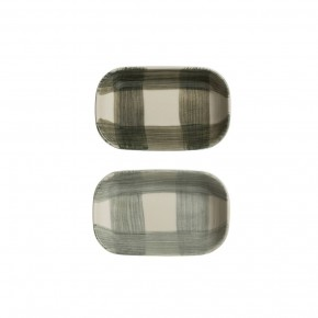 Stoneware Dish w/ Hand-Painted Buffalo Check, 2 Colors