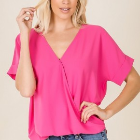 WOVEN HEAVY DOBBY LAYERED-LOOK DRAPED FRONT TOP