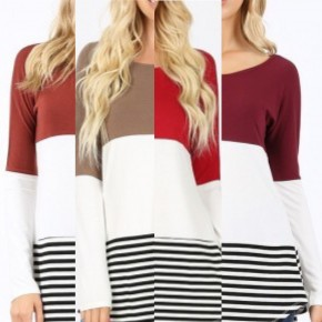 Long Sleeve Round Neck Color Block Top