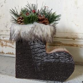 Small Log Bark-Look Boot w/ Greenery