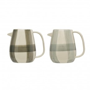 Stoneware Pitcher w/ Hand-Painted Buffalo Check, 2 Colors