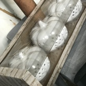 Battery Operated Lighted Ceramic Pumpkins (SET OF 3)