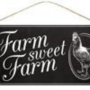 Farm Sweet Farm Sign - Black/Wite