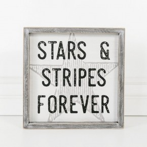 WOOD FRAME SIGN - STARS STRIPS FOREVER
