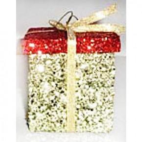 "3"" Square Glitter Gift Box Ornament"