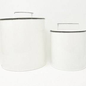 Enamel Canisters With Handle Lid