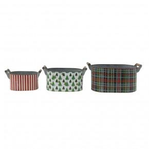 Metal Buckets w/ Pattern & Wood Handles