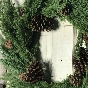 Holiday Cedar Wreath w/ Pinecones