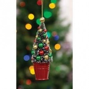 Potted Sisal Tree Ornament w/Beads