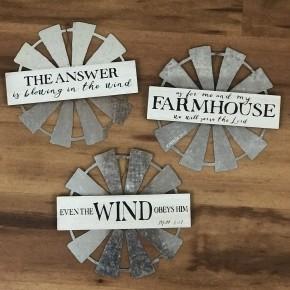 Farmhouse Windmill Hanging Sign, Asst