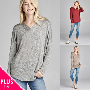 Plus Size Long Sleeve V-Neck Hacci Top