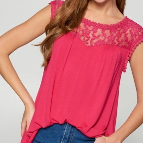 Fuchsia Lace Trim Tunic Top