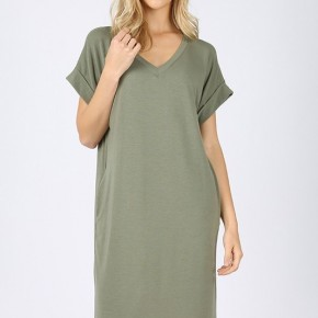 Olive Rolled Sleeve T Shirt Dress