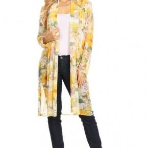 Yellow Floral Long Kimono