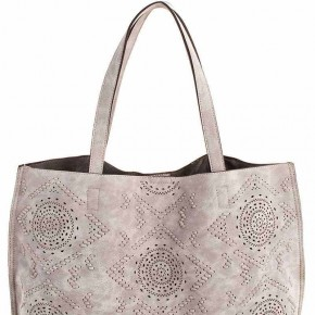 Gray Embroidered Tote with Inside Pocket