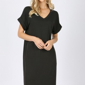 Black Rolled Sleeve T Shirt Dress