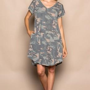 Camouflage V-Neck Swing Dress