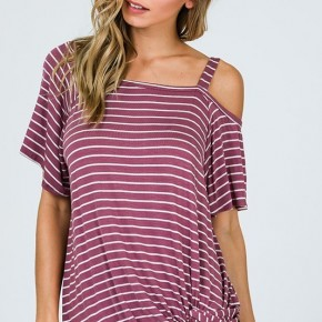 Purple Striped One Shoulder Top with Side Twist Hem