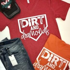 """Dirt and Diamonds"" Red Tee"