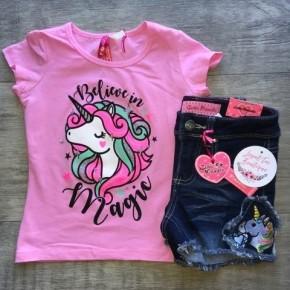 Girls Unicorn Sparkle Tee - Pink