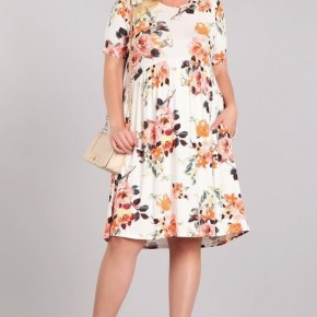 Ivory Floral Dress with Pockets