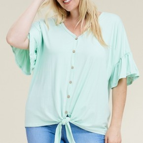 Mint Ruffle Sleeve Top with Front Tie