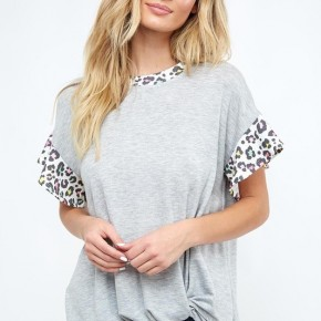 Grey Top with Leopard Sleeves