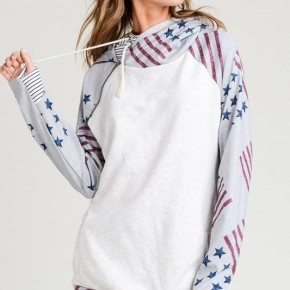 Stars and Stripe Printed French Terry Double Hoodie with Zipper Trim Detail