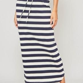 Navy Cream Maxi Skirt