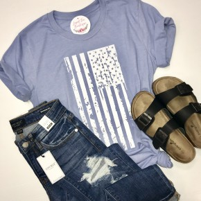 Heather Blue Distressed Flag Neck Crew