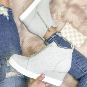 Light Grey Wedge Sneakers