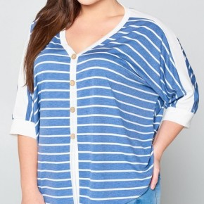 Denim Blue Stripe Top with Front Knot