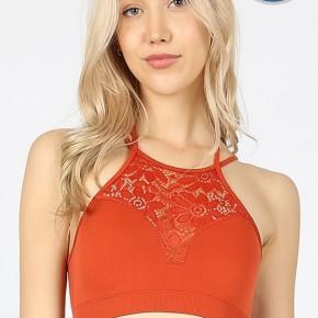 Burnt Orange High Neck Lace Bralette w/ Pads