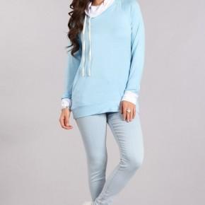 Baby Blue Hooded Long Sleeve Top