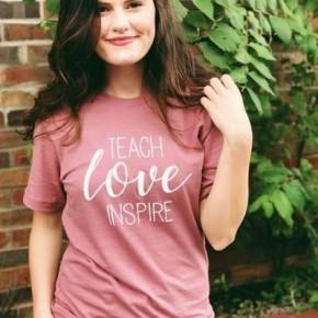 Teach, Love, Inspire Tee - Mauve