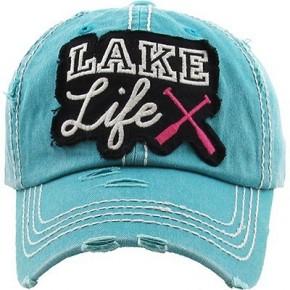 Lake Life Distressed Vintage Hat Teal
