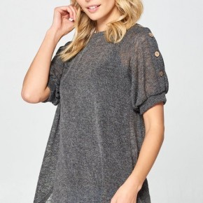 Charcoal Knit Top With Button Shoulder