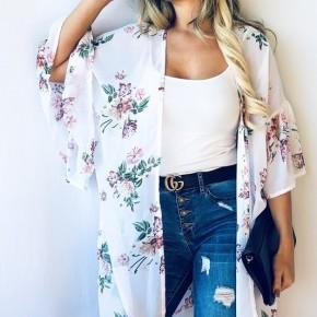 White Floral Bell Sleeve Kimono
