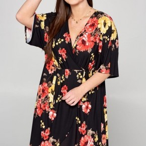Black Floral Dress Wrap Dress