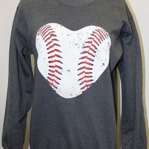 Baseball Heart Crew Sweatshirt