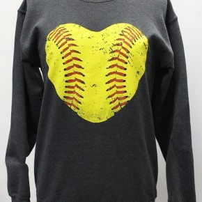 Softball Heart Crew Sweatshirt