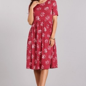 Marsala Floral Dress with Pockets