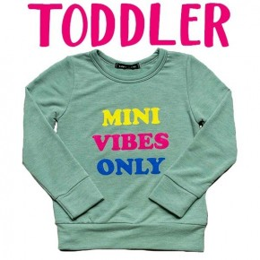 """""""Mini Vibes Only"""" Kids Long Sleeve Top"""