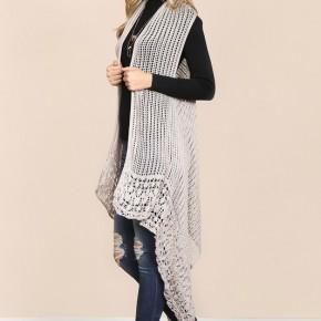 Beige High Low Crochet Vest
